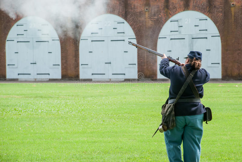 Civil War Reenactment Soldier stock photo