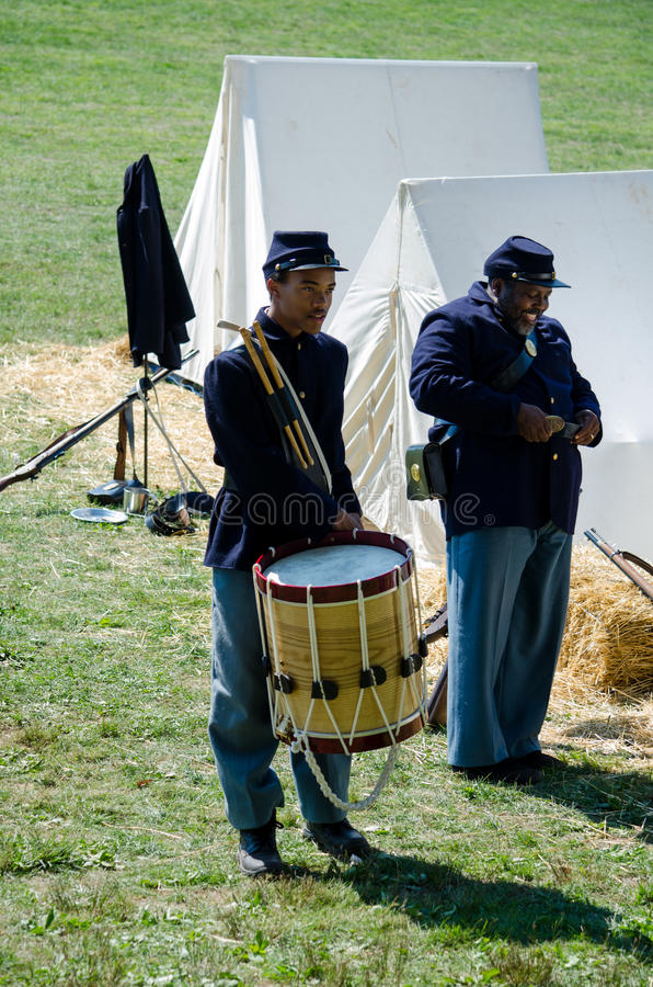 Civil war soldiers getting ready stock photography