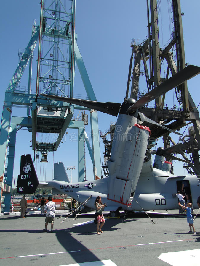 Civilians Inspect An  MV-22 Osprey Editorial Stock Photo