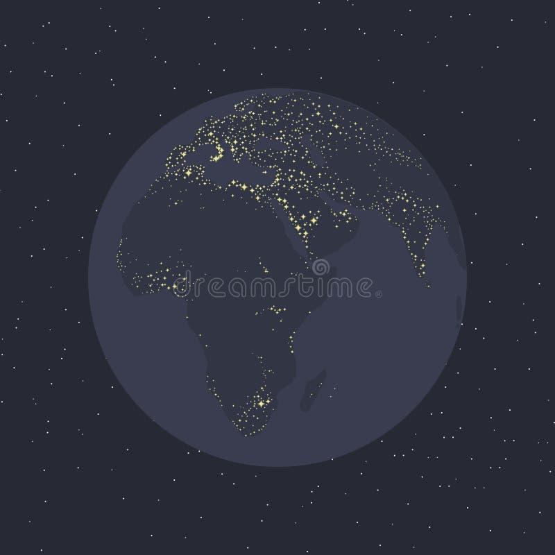 Civilizzazione brillante l'Eurasia Africa della luce di illuminazione dei continenti della terra grigio-blu del pianeta del mare  royalty illustrazione gratis