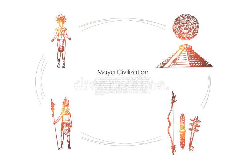 Civilizzazione di maya - la gente di maya, strumenti ed insieme di concetto di vettore della piramide illustrazione vettoriale