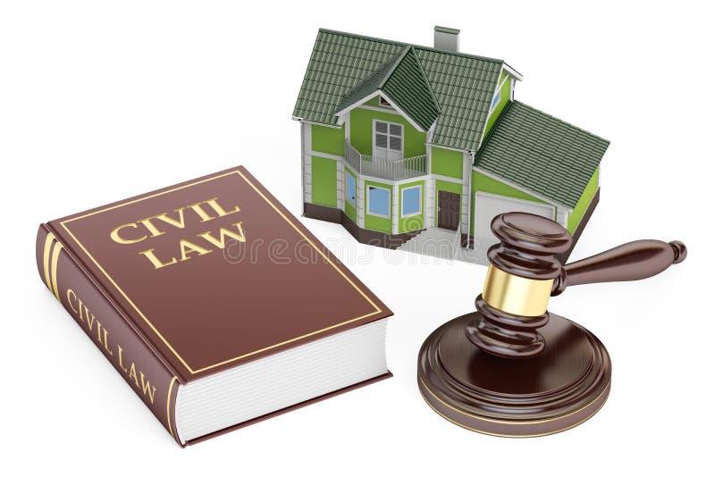 Civilrättbegrepp, hus med auktionsklubban och bok framförande 3d stock illustrationer