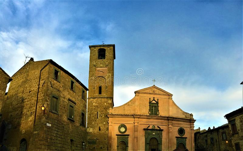 Civita di Bagnoregio, town in the province of Viterbo, Italy. History, time, architecture, church and beauty. Civita di Bagnoregio, a town in the province of royalty free stock photo