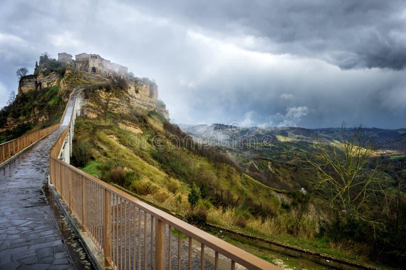 Civita di Bagnoregio. Beautiful panoramic view of famous Civita di Bagnoregio with Tiber river valley, Lazio, Italy stock image