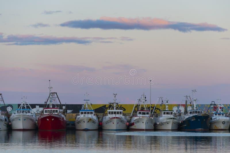 Civitanova Marche, Marche, Italy//07-15-2018 reklam łodzi rybackich dokujących z rzędu przy słońce puszkiem zdjęcia stock