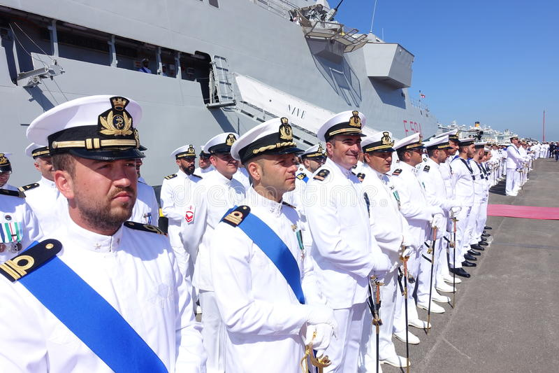 Civitavecchia Rome Italy Some sailors from the Italian Navy deployed under the Alpine Warship waiting for the authorities for Day. Of the Italian Navy stock photos