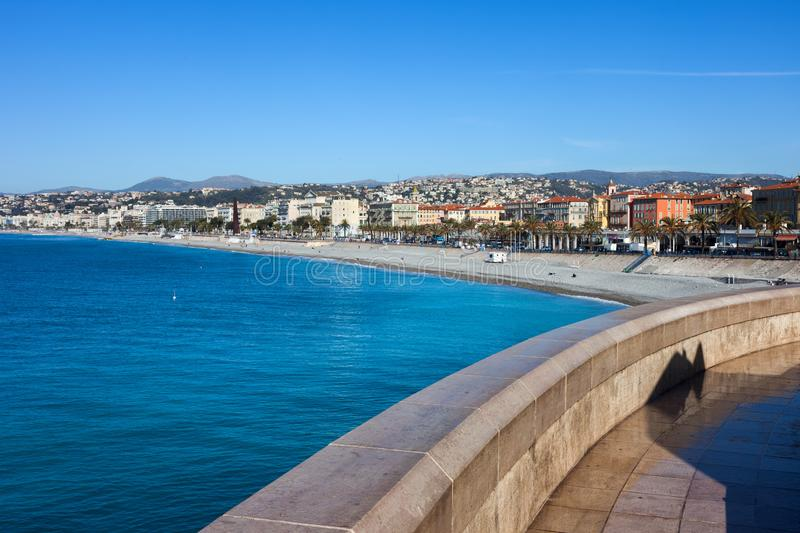 Ciy of Nice on French Riviera. France, Cote d`Azur, Nice city on French Riviera at Mediterranean Sea royalty free stock photography