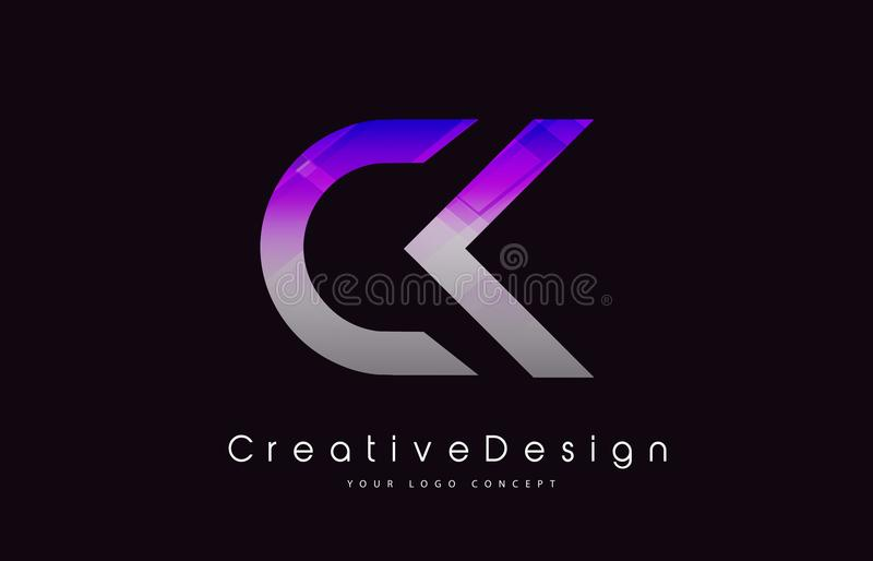 CK Letter Logo Design. Purple Texture Creative Icon Modern Letters Vector Logo. royalty free illustration