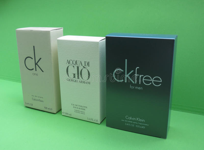 Ck och Armani eau de toilette arkivfoton