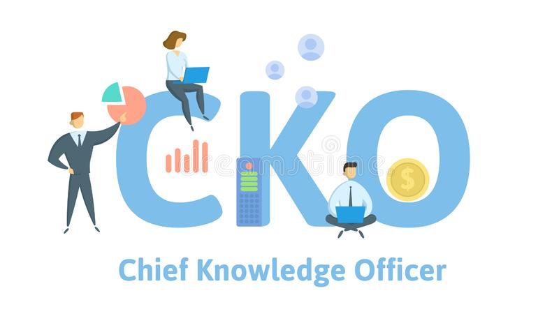 CKO, Chief Knowledge Officer. Concept with people, letters and icons. Flat vector illustration. Isolated on white royalty free illustration