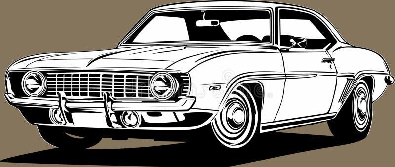 Clásico americano retro ícono de músculo coche Chevrolet Camaro ilustración del vector