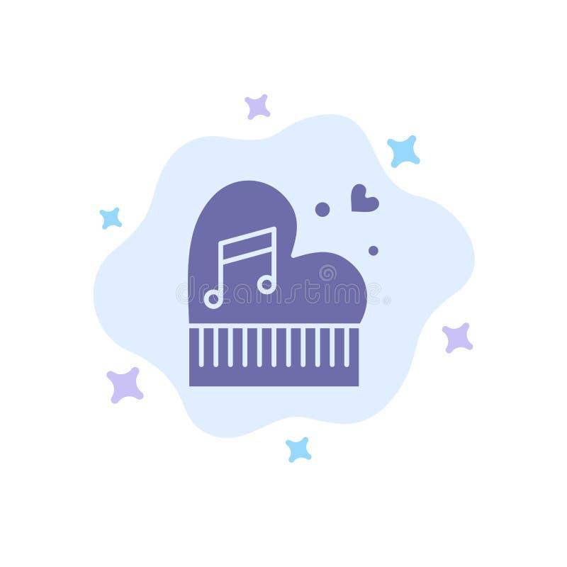 Clássico, amor, união, paixão, piano, Valentim, ícone azul do casamento no fundo abstrato da nuvem ilustração royalty free