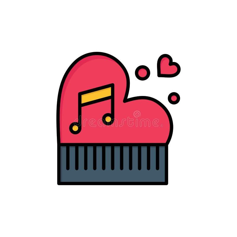Clássico, amor, união, paixão, piano, Valentim, ícone liso da cor do casamento Molde da bandeira do ícone do vetor ilustração royalty free