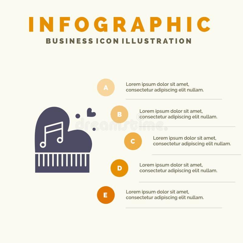 Clássico, amor, união, paixão, piano, Valentim, fundo contínuo da apresentação das etapas de Infographics 5 do ícone do casamento ilustração stock