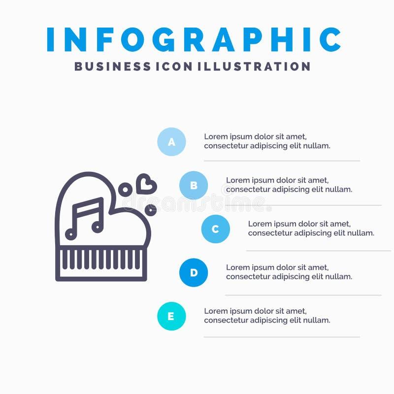 Clássico, amor, união, paixão, piano, Valentim, linha ícone do casamento com fundo do infographics da apresentação de 5 etapas ilustração do vetor