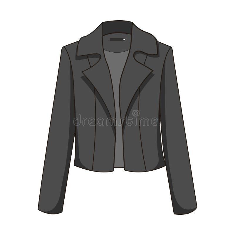 Clássicos elegantes e à moda enegrecem/escuro - blazer/revestimento cinzentos Isolado no fundo branco ilustração do vetor