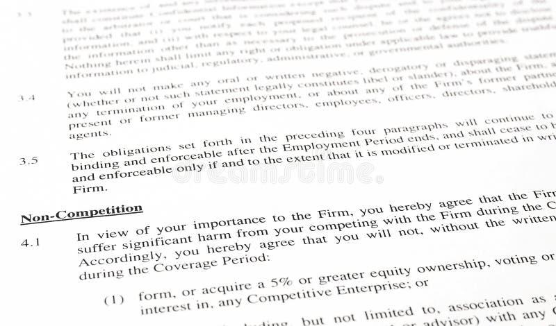 Cláusula de no competencia de un contrato imagen de archivo libre de regalías