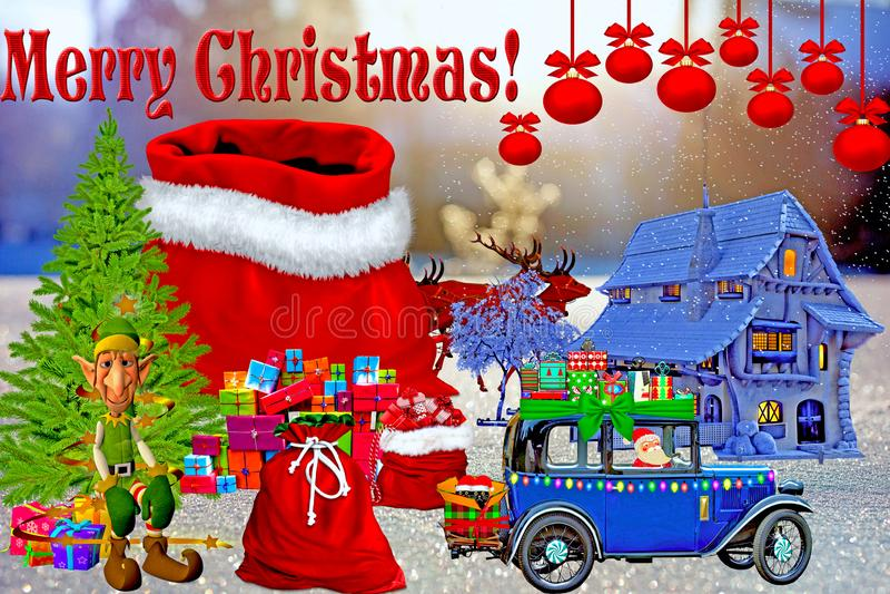 Cláusula Feliz Natal X-Mas Santa com Presentes no Cartoon de Árvore de Natal em Neve Última Imagem fotos de stock
