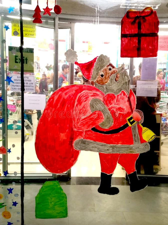 Cláusula Santa, Decoração de Natal fotografia de stock