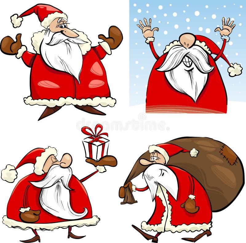 Cláusulas de Santa de la Navidad de la historieta fijadas ilustración del vector