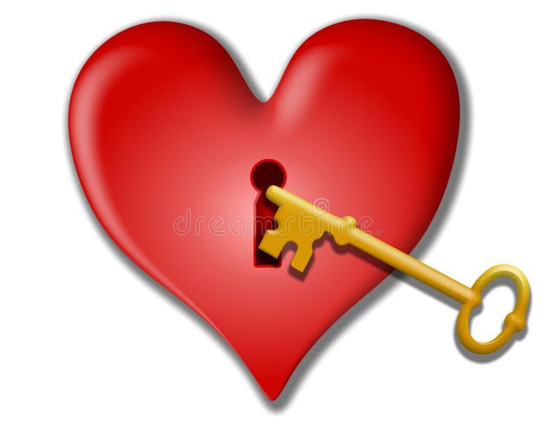 Clé à mon clipart (images graphiques) de Valentine de coeur illustration libre de droits