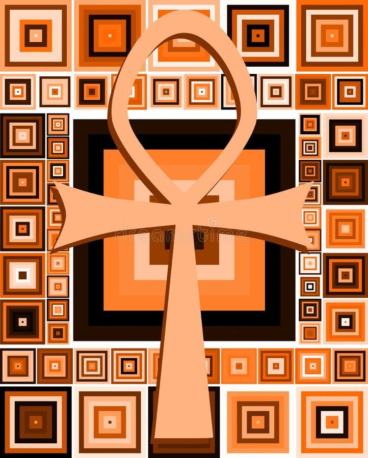 Clé égyptienne de la vie sur le fond abstrait illustration de vecteur