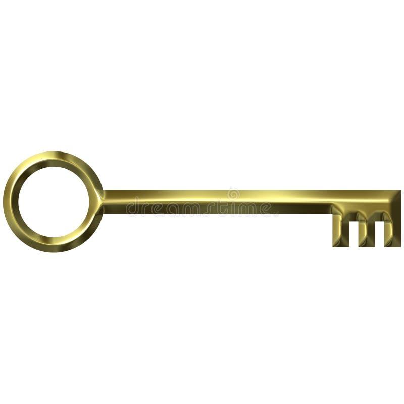 clé 3D antique d'or illustration libre de droits