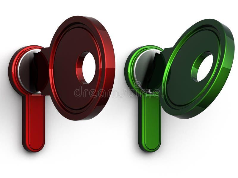 clé 3d (vert rouge de fin) photographie stock libre de droits