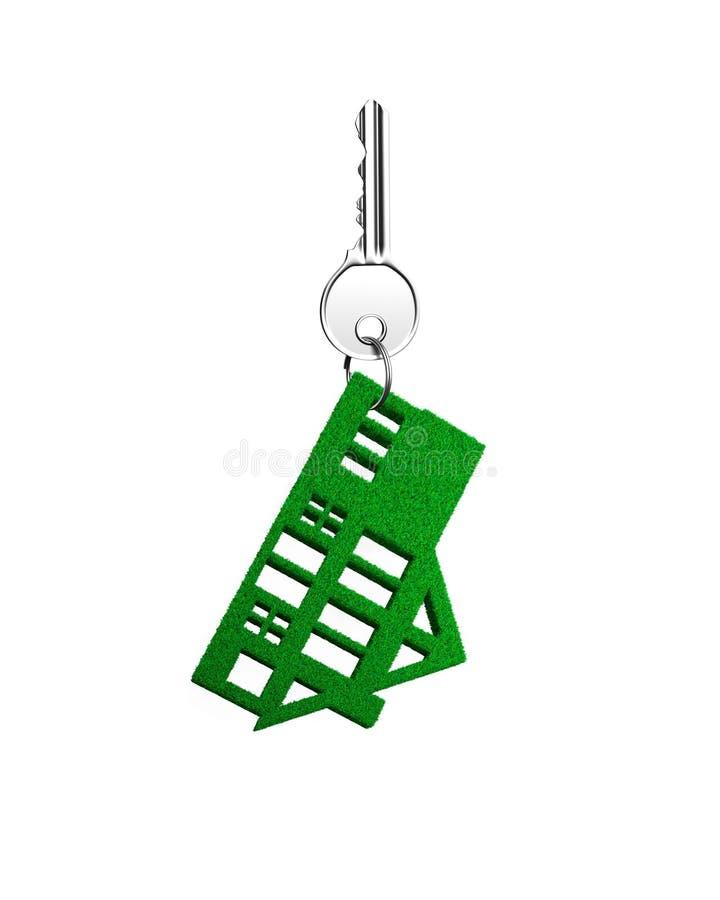 Clé argentée avec le porte-clés de forme de maison d'herbe verte, illustration 3D illustration libre de droits