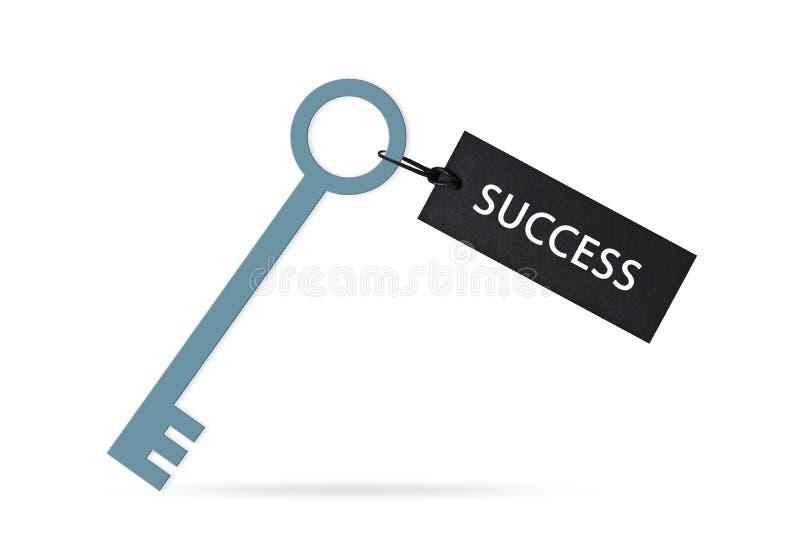 Clé au concept de succès avec le label ou l'étiquette d'isolement sur le fond blanc photographie stock