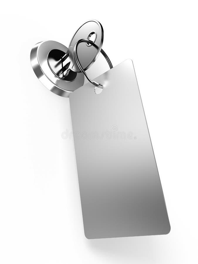 Clé avec l'étiquette en trou de la serrure illustration stock