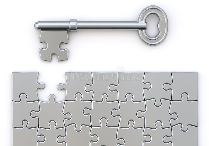 Clé avec le puzzle illustration stock