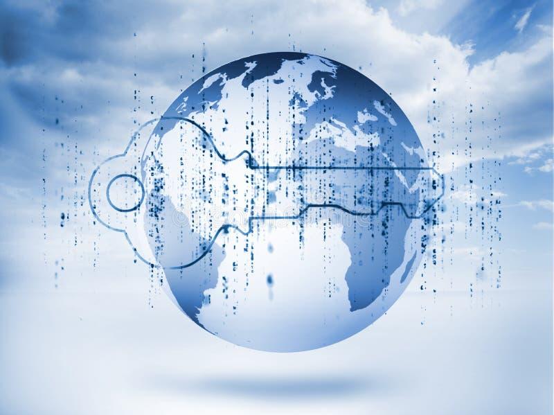 Clé bleue de Digital avec la matrice et une planète illustration de vecteur