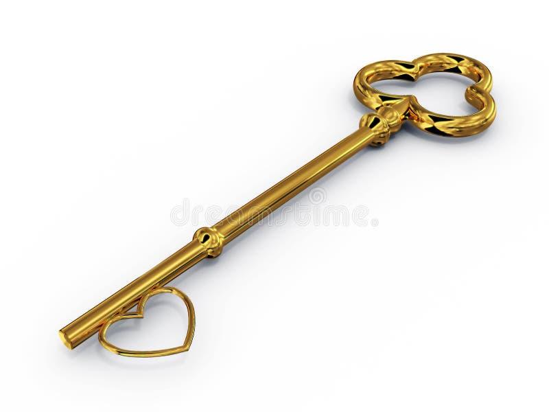 Clé d'or à l'accès avec le coeur illustration de vecteur