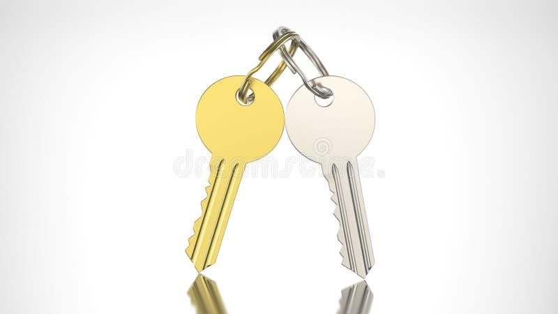 clé d'or et d'argent de l'illustration 3D avec le keychain illustration stock