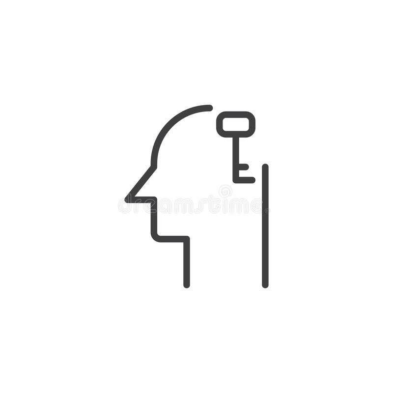 Clé dans l'icône d'ensemble de tête humaine illustration de vecteur