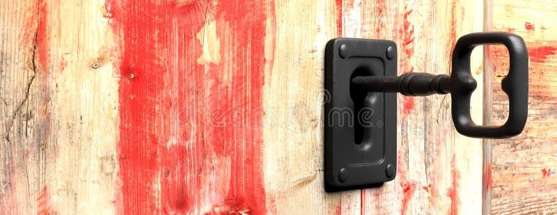Clé dans un trou de la serrure Fond en bois rouge illustration 3D illustration de vecteur