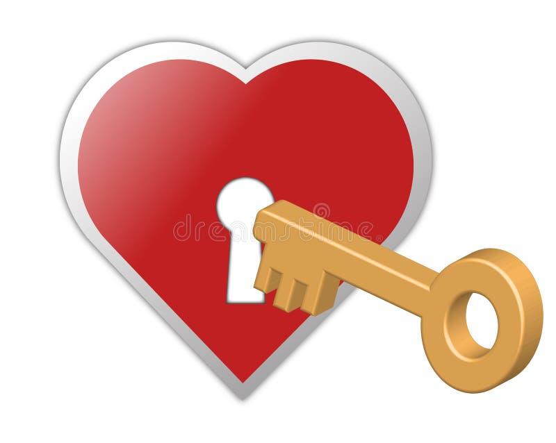 clé de coeur à illustration stock