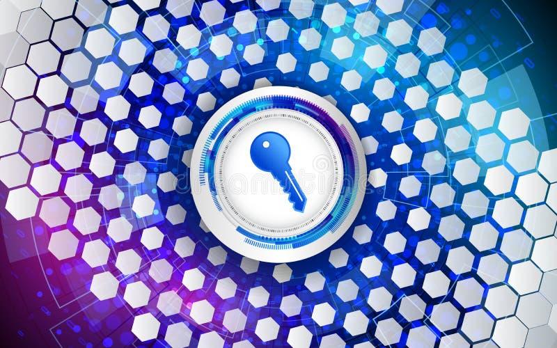 Clé de Cyber pour la protection d'Internet La défense de données d'ordinateur Sécurité de réseau global illustration stock
