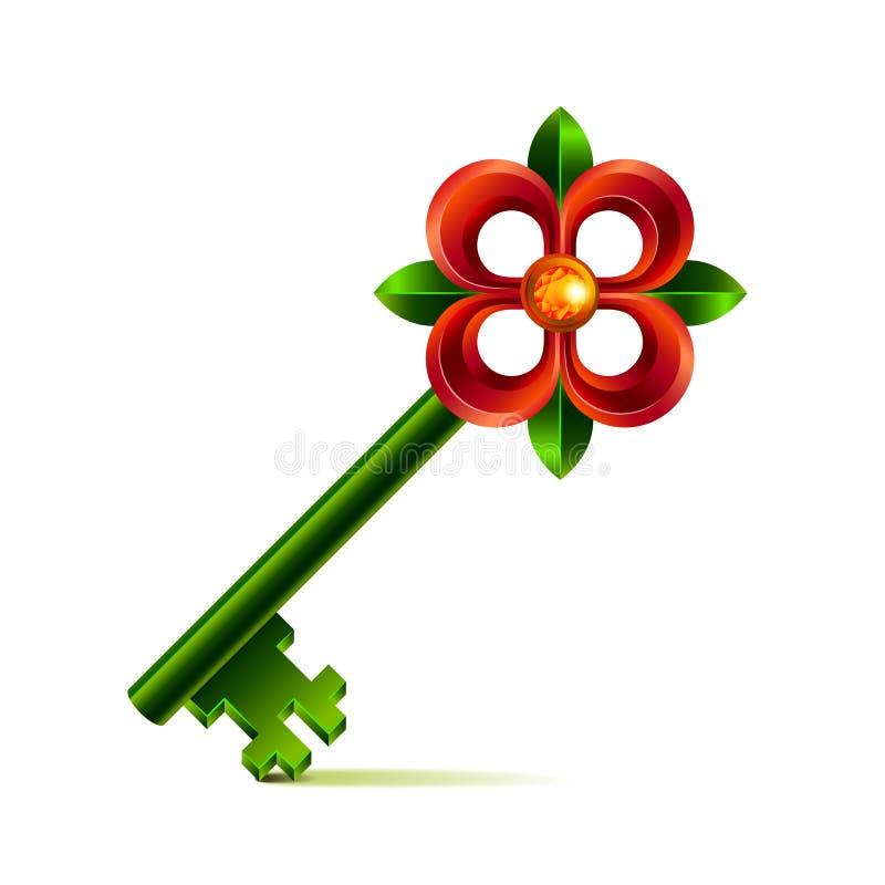 Clé de fleur de vintage sur le vecteur blanc illustration libre de droits