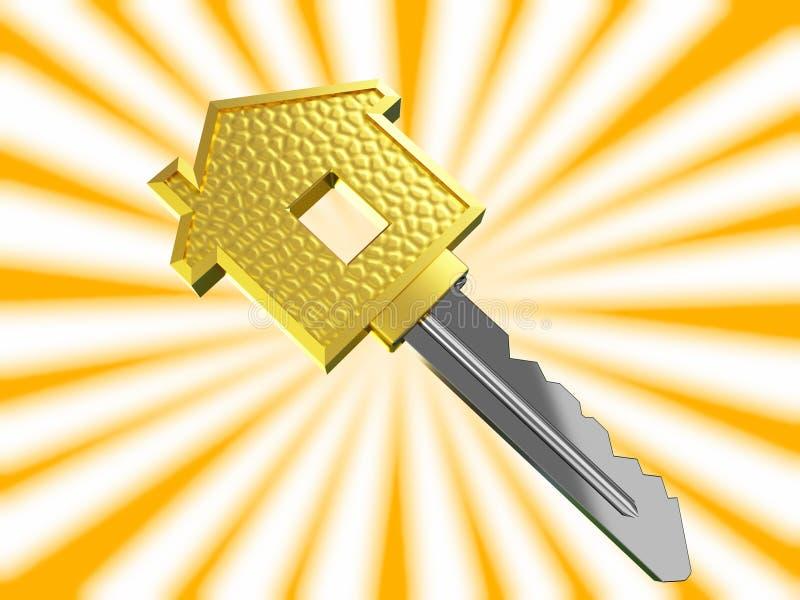 Clé de maison rêveuse d'or illustration de vecteur