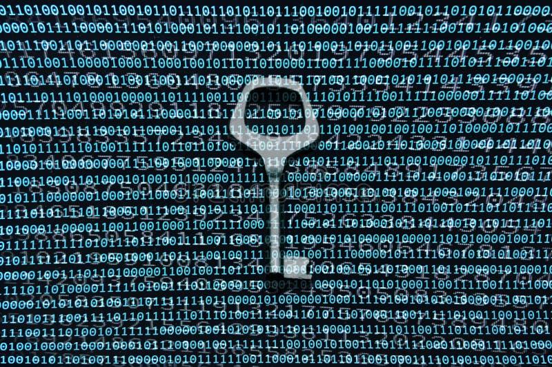 Clé de sécurité dans une piscine des données des nombres binaire images stock