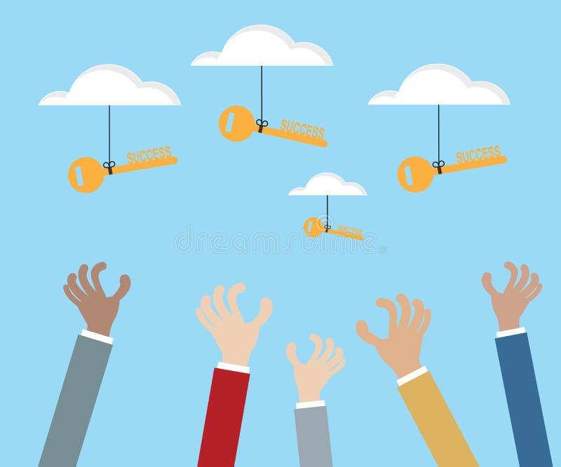 Clé de saisie de main de succès de nuage illustration libre de droits