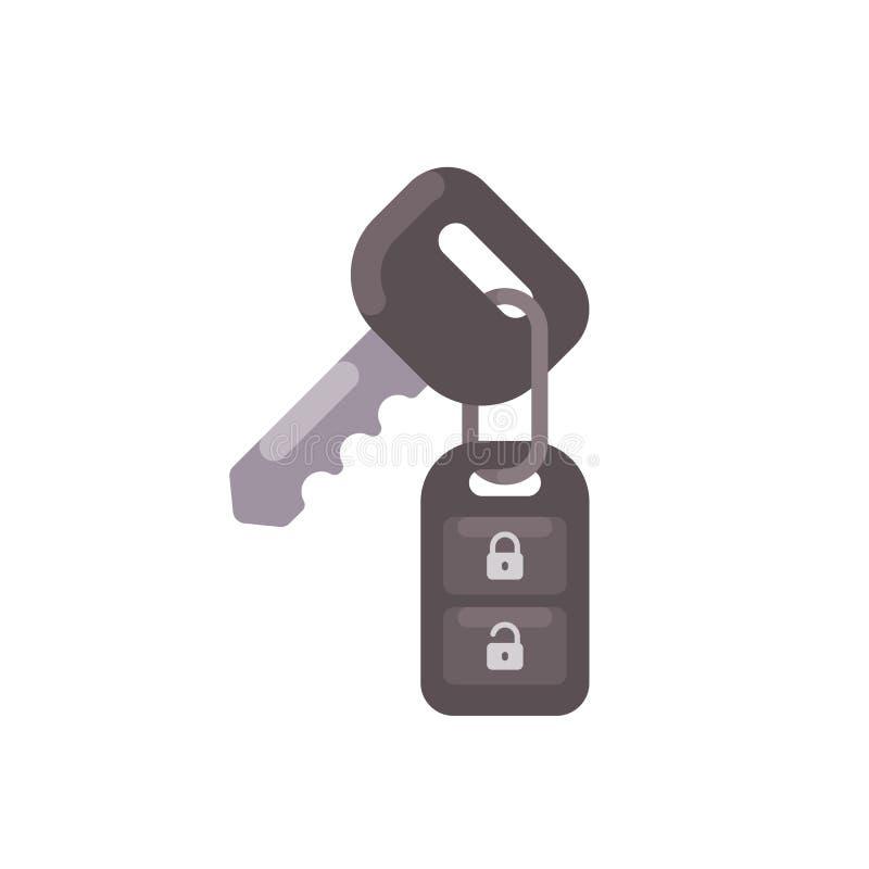 Clé de voiture avec l'icône plate de contrôle d'alarme à distance illustration stock