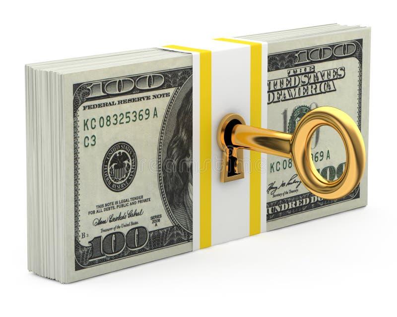 Clé et argent illustration de vecteur