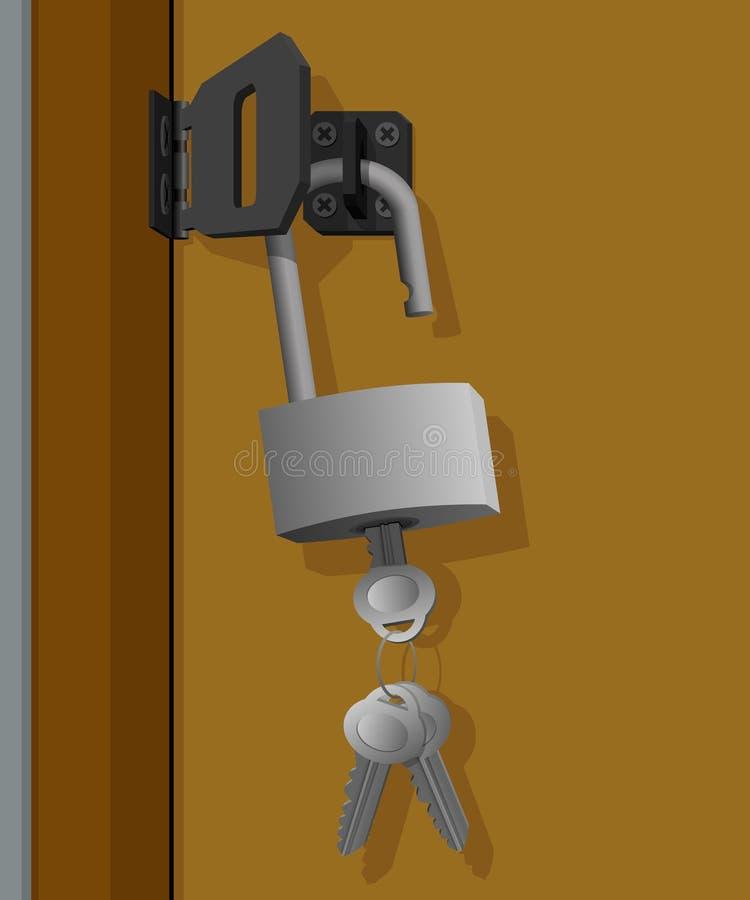 Clé et cadenas accrochant sur la porte illustration stock