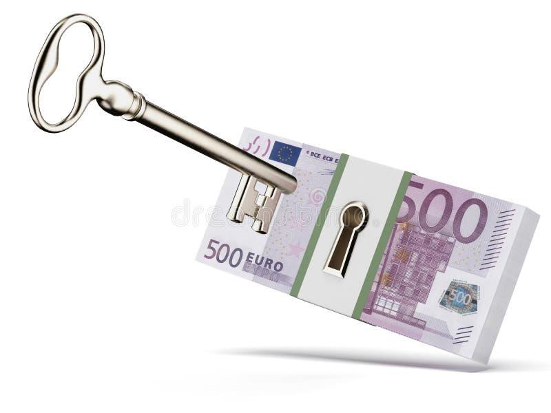 Clé et euros illustration de vecteur