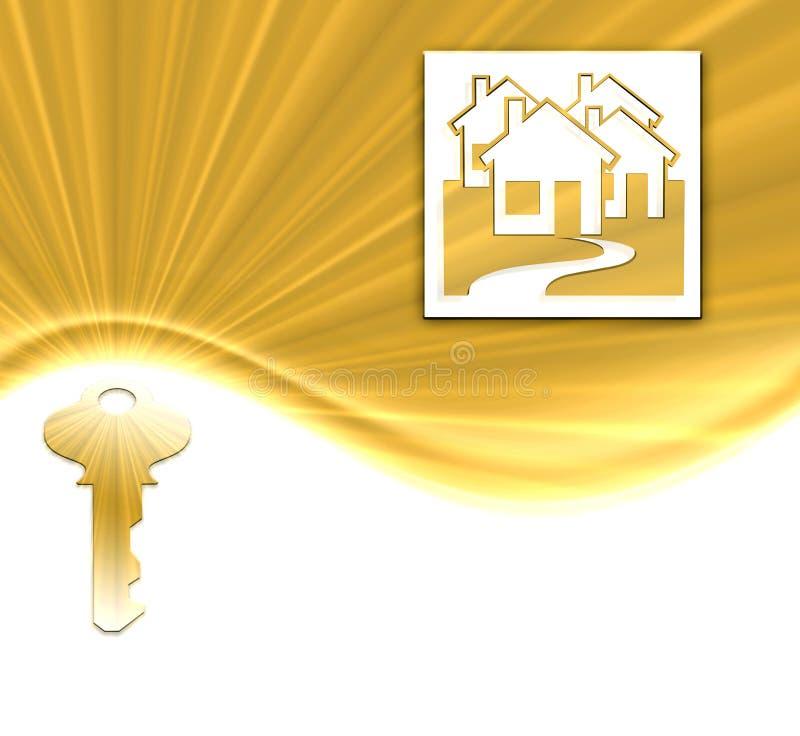 Clé et maisons d'or illustration stock