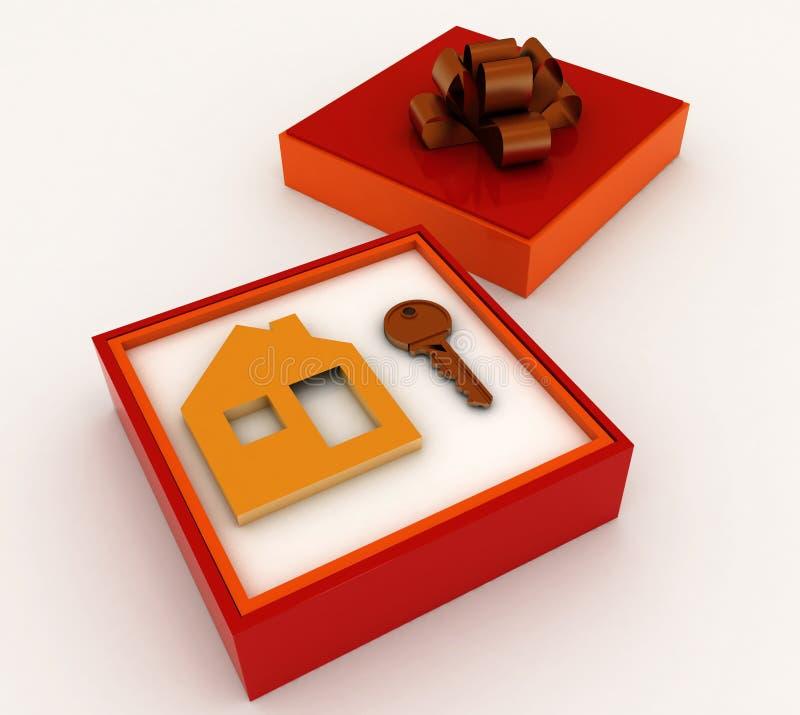 Clé et symbole de maison dans le cadre de cadeau rouge illustration de vecteur