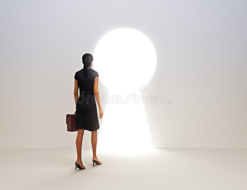 Clé femelle d'affaires à la réussite illustration stock